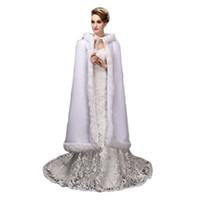 Wholesale Winter Bridesmaids Long Coats - New Hooded Bridal Cape Long Wedding Cloaks Faux Fur Bridal Wraps Bridal Cloak Plus Size Bride Bridesmaid Coat Suit Jacket for Winter