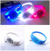 Wholesale Silicone Led Ring - Voice Activated Sound Control Led Flashing Silicone Bracelet Wristband for Party Club Bar Disco Music Concert Night Light Luminous Hand Ring