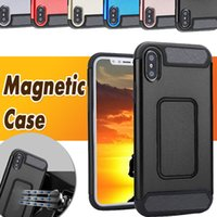 Pour iPhone X Magnetic Case Tank Armor Protection en fibre de carbone Design Anti-shock Hybrid Shockproof Hard PC Shell Cover pour iPhone 8 7 Plus 6S