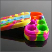 Wholesale Wax Cans Wholesale - Colorful Nonstick Wax Containers 6+1 Silicone Box Large Size 7 In 1 Set Wax Oil Can Non-stick Wax Jars Dab Storage Food-grade Silicone