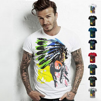 Wholesale Male Tees - 2016 Fashion T shirts For Men Indian Totems T-shirt Shorts Sleeve Brand NEW Summer male Tops Tees Casual tshirt TX80 RF