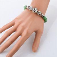 Wholesale Buddha Fashion Bangle - Womens Unique Bijoux Jewelry Fashion Opal Buddha Bracelet Agate Green Bead Bracelets Bangles For Women SBR140146