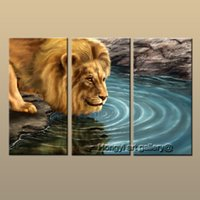 Wholesale Nude Oil Painting Large - 3 Panel Gift Large Modern Contemporary Fantasy Animal Lion Art Oil Painting on Canvas Abstract HD Print Wall Picture Home Room Decor