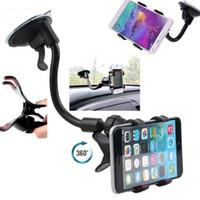 evrensel telefon tutacağı ön cam toptan satış-Evrensel 360 ° Araba Cam Dashboard Tutucu Dağı iPhone Samsung GPS PDA Cep Telefonu Siyah Için Standı