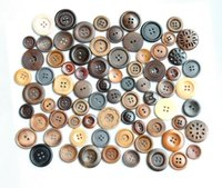 Wholesale Sew Assorted Button - (150g bag) Assorted Varnish Wooden Sewing Buttons Hat Scrapbook Accessories Washable Buttons- BG0165