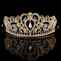 kafa bandı saç giysisi toptan satış-2016 Yeni Moda Gelin Taç Kraliyet Altın Gümüş Kristal Düğün Aksesuarları Kafa Üst Kalite Tiara En İyi Hairwear