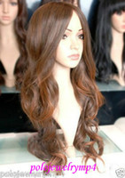 Wholesale Long Brown Wig Wavy Cosplay - 100% Hot Sell Brazil dark-haired woman wig cosplay Heat Resistant synthetic??New Cosplay party Fashion Light Brown Long Wavy Wig