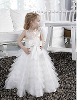 Sweet ChampagneWhite Jewel Layers Tulle Flower Girl Dresses Girl's Pageant Платья Princess Holiday Skirt Custom Size 2-14 H907018