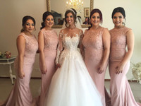 Wholesale 2019 New Mermaid Pink Bridesmaid Dresses Jewel Appliques Floor Length Maid Of Honor Wedding Guest Party Gowns Cheap Plus Size Custom Made