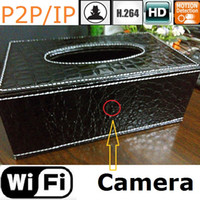 Câmara IP sem fio Home Security Recorder Room Tissue Box HD WIFI SPY câmera escondida H.264 P2P / IP