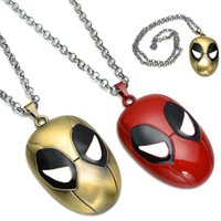 Wholesale Marvel Cute - Cartoon Deathpool Mask Pendant Metal Zinc Alloy Cute MARVEL Deathpool Face Mask Deadpool Q Necklaces YC2121 Free Shipping