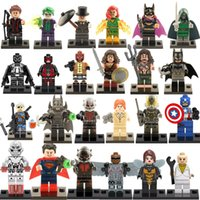 Wholesale 480pcs Super Heroes Avengers figures Captain America Spider Man Hulk Bane Robin Batman Ultron block toys ghg