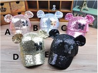 Wholesale Ox Horn Caps - 2016 Kids Boys Girls Sequins Sunhats Children Fashion Cute Mickey Ox Horn Caps Cat Ears Baseball Peaked Hats Summer Baby Caps K7236