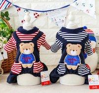 Wholesale Pet Stripe Pants - Fafa Pet Clothes Dog Costume Apparel Dog Jumpsuit Pants Dog T-shirt Puppy Winter Coat Jacket Stripe Bear Jeans Patchwork 17ZF129