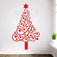 Wholesale Wallpapers Trees - Shop Window Wall Stickers for Decorative Christmas Tree Xmas Home Decoration Window Display Removable Wallpaper Product Code:90-2021