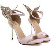 Wholesale Shoes Heels Black Golden - Size 35~40 Pink Golden Butterfly High Heels Sandals Women Pumps Sexy Black 2016 Thin Heels Women Shoes
