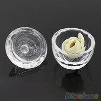 Wholesale Arcylic Cups - Crystal Glass Cup With Cover Dish for Arcylic Nail Art Liquid Powder 1VHQ