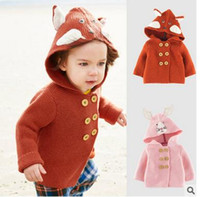 Wholesale Infant Girl Cardigans - Toddler kids Cardigan Baby girls Fox Rabbit ears hooded knitting sweater Infants double-breasted Embroidery outwears Kids Cute clothes C1584