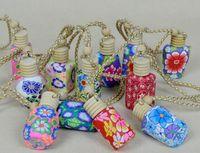 leere lehm parfümflaschen großhandel-Neu kommen 15 ml Auto hängen dekoration polymer clay essenz öl parfümflasche hängen seil leere flasche