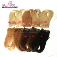 Wholesale 27 613 Hair Weft Extensions - 3pcs lot Colored Human Hair Extensions More Colors #1 #2 #4 #8 #14 #22 #24 #27 #60 #613 Brazilian Hair Weft Hair Weave More Soft Top Quality