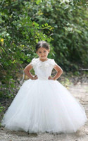 Wholesale Prom Dress Tulles Ball Gown - Ball Gowns Flower Girl Dresses 2017 Cap Sleeves Handmade Flowers First Communion Dresses Tired Tulles Wedding Party Gowns Prom Dresses