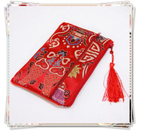 Wholesale Money Makeup - Craft Double Zipper Clutch Bag Jewelry Storage Bag Travel Money Bag Necklace Bracelet Bag Tassel Chinese Silk Satin Cosmetic Makeup Pouch