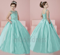 çocuklar için elbise kristalleri toptan satış-Yeni Shinning kızın Pageant elbise 2019 Sheer Boyun Boncuklu Kristal Saten Nane Yeşil Çiçek Kız Abiye Örgün Parti Elbise Gençler Çocuklar Için