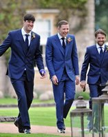 All'ingrosso-Nuovo arrivo due Blue Button smoking dello sposo Groomsmen Mens Wedding Suits Prom Dress (Jacket + Pants + Vest + Tie) NO: 188