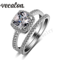 Wholesale White Gold Cushion Diamond Ring - Vecalon 2016 cushion cut 3ct Simulated diamond Cz Wedding Band Ring Set for Women 10KT White Gold Filled Engagement Bridal Sets