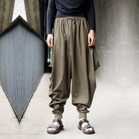 Wholesale Linen Cropped Pants - Wholesale-Men trousers Japanese Samurai Style Boho Casual Low Drop Crotch Loose Fit Harem Baggy Hakama Capri Cropped Linen Pants Trousers