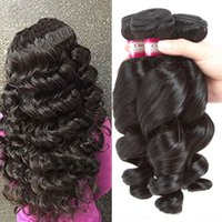 Wholesale very weave online - 7A Peruvian Virgin Hair Loose Wave Bundles Hot Unprocessed Virgin Malaysian Human Hair Very Soft Can be Dyed Natural Black