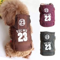 Wholesale Denim Thanksgiving Shirt - New Style Spring And Autumn Printed Denim Vest Hooded Four Feet Dog Clothes Small Dogs Red Brown Green
