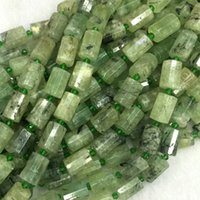 "Wholesale Natural Stone Faceted Beads - Wholesale Natural Genuine Green Prehnite Faceted Hand Cut Tube Loose Beads Barrel Column Beads 15"" 04272"