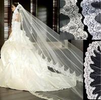 Wholesale Mantilla Lace Veil Ivory - 3 Meter White Ivory Cathedral Wedding Veils Long Lace Edge Bridal Veil with Comb Wedding Accessories Bride Mantilla Wedding Veil