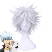 Wholesale men waves hair - New Men Cosplay Wigs 35cm 13.8inches Short White Heat Resistant Synthetic Hair Perucas Cosplay Wig
