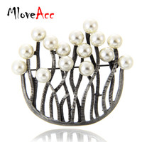 MloveAcc Antique Black U Shape Retro Brooches Ювелирные изделия Vintage Women's Fashion Dress Accessories Каменные брошь Булавки оптом