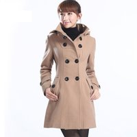 Wholesale Hooded Trench Outerwear - High quality 2016 lady outerwear new fashion women's Hooded Double Breasted Trench Wool Coat long Winter Jackets parka coats