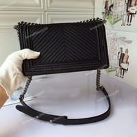 Wholesale Metallic Hardware - Top quality 2018 original Fetal cowhide leather weave Chevron boy flap bag with aged hardware women's single shoulder chain bag 25cm