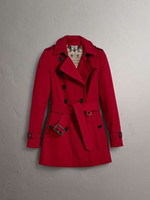 Wholesale Thin Red Trench Coat - Classic English style double-breasted shoulder-length trench coat with a thin belt and a long cotton lady's coat