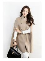 черная шерстяная накидка на зиму оптовых-Бесплатная доставка мода пальто черный двубортный плащ пальто женщин военная шерсть зимняя куртка плащ для женщин