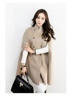 capas de lã preta venda por atacado-Frete grátis casaco de moda Preto Duplo Breasted Cape Coat Mulheres Casaco de Lã Militar de Inverno Casaco para As Mulheres