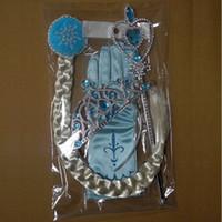 gants de princesse pour enfants achat en gros de-4pcs / set diadème congelé / perruque magique baguette / cheveux / gants congelés articles de fête ensemble enfant fête d'anniversaire filles princesse accessoires cadeau