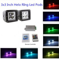 "Wholesale Offroad Light Remote - 2Pcs 3"" RGB Color Changing Led Cubes Pods with Halo Ring Remote Controller for 4wd SUV UTE Offroad Truck ATV UTV"