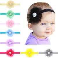 ingrosso grandi fasce per i bambini-New baby fasce fiori ragazze fasce pizzo infantile Baby Big Flower Pearl Princess accessori per capelli fascia Baby Kids Head Band KHA125