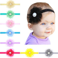 Wholesale wholesale pearl accessories - New baby headbands flowers girls headbands lace infant Baby Big Flower Pearl Princess headband hair accessories Baby Kids Head Band KHA125