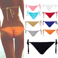 Wholesale Sexy Tie Side Bikini - Wholesale-Sexy Solid Pink Bikini Women Summer Beach Solid Bottom Ruched Tie Side Panties plus size intimates Hot Sale Smile culotte femme