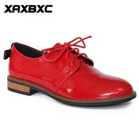 A053 Retro British Style Leather Brogues Oxfords Red Lower Heels Chaussures Femme Bowknot Lace Up Handmade Casual Lady Shoes