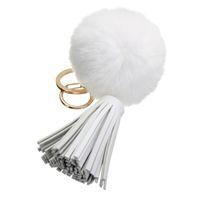 Wholesale Beaver Women - 2016 New Fashion Beaver Rabbit Fur Ball PomPom Car Keychain Handbag Key Ring With Tassel 8cm 12 Colors Pendant
