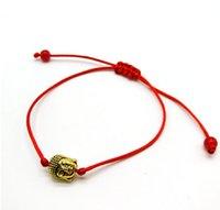 neuer buddha-ring großhandel-NEUES 10pcs rotes Schnur-Schnur-glückliches rotes Armband Buddha-Kopf justierbares Armband-Geschenk