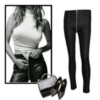 Wholesale Clubwear Leggings - European Style Black PU Leather Leggings Pant Front Zip-Up High Waist Skinny Pants Trousers Girls Tights Clubwear Streetwear BSF0317